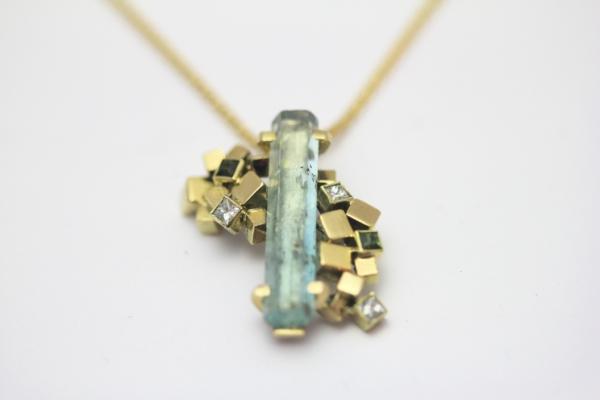 Hanger Goud Aquamarijn Toermalijn Diamant